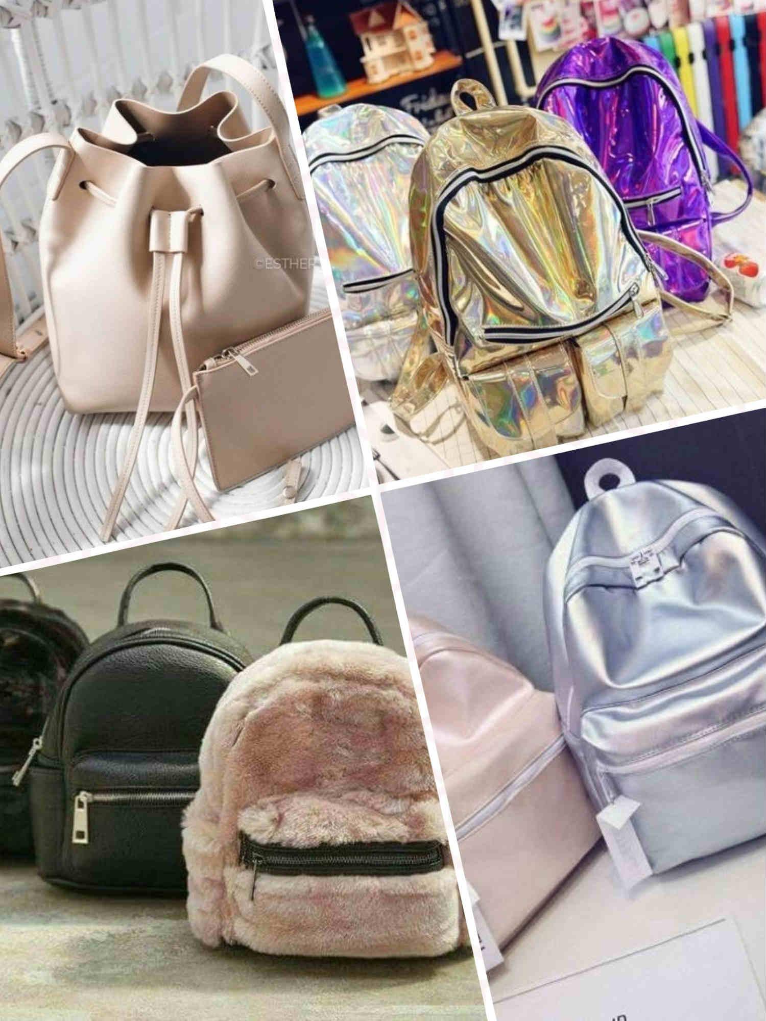 66884c8f63389 بالصور موضة شنط الضهر الجلد و القطيفة velvet and leather back bags - المرأة